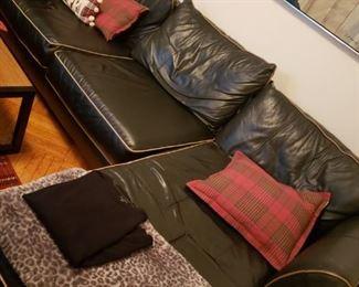 black leather sofa/chaise