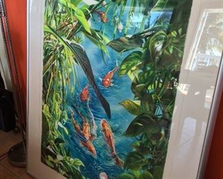 """Koi Pond Paradise"" Watercolor by Gwen Talbot Hodges, 40"" x 52""."