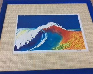 "Wave Painting, Signed, 21 1/2"" x 17 1/2""."