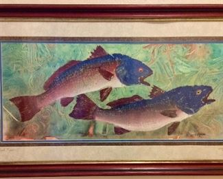 """ Red Fish"" by Jason Stokes, Signed, 35"" x 20 1/2""."