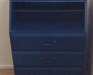 Blue Desk with Drawers.