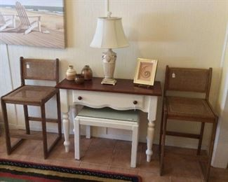 Small Dressing Table and Wooden Chairs.