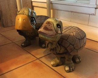 "Carved Wood Turtles, 22"" L and 16""L."