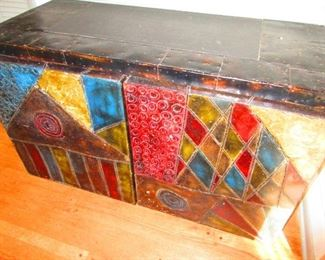 "Paul Evens for Directional "" Relief Sculpture"" Two Panel Credenza"