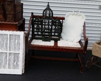 Bird Cage, Victorian Baby Buggy, Serving Trays, Vintage Wood Windows