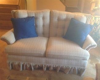 "pr of matching Loveseats...beige background.  Measure 60"" l x 38"" d x 33"" tall.  Presale $65 each"
