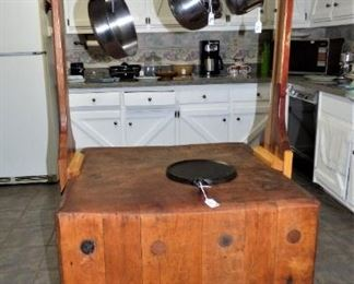 Antique Butcher's Block.  Owner added Pot Holder Canopy.  See inscription on top of Canopy in next picture.  Hall Pottery Crock under Butcher's Block, Wagner Round Griddle Skillet sitting on Block.