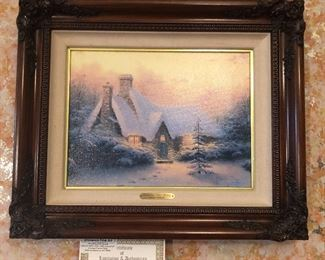 """1994 Thomas Kinkade  lithograph on canvas  """"Christmas Cottage V"""", edition of 3950 - with certificate of authenticity"""