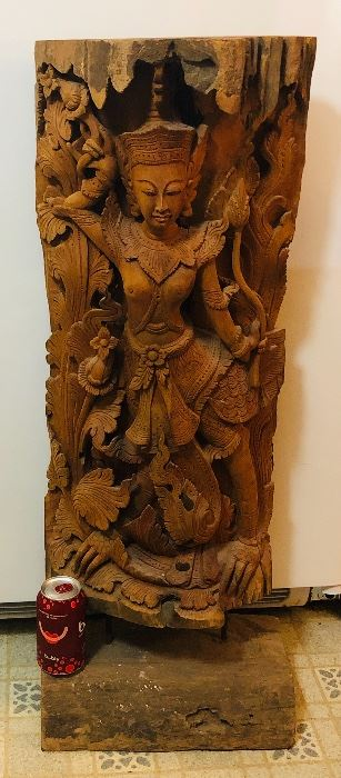 Thai wood carving - 3 ft. tall (soda can at base for scale)
