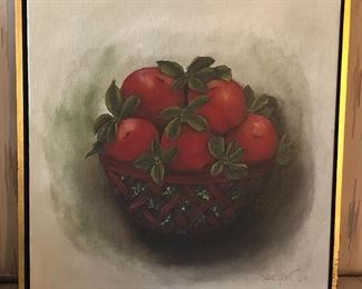 """""""Apple Basket"""", 1969 oil painting on board by Seattle artist Barbara Sargent (16"""" x 16"""")"""