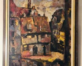 """Square at Rothenberg"", oil painting on canvas by Jean Erickson Elshin (wife of Jacob). Signed & titled on back, framed size 28"" x 34""."