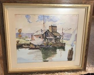 """Watercolor of fishing shack on Morrow Bay (California) by D. L. Clarke, framed size 25"""" x 29"""""""