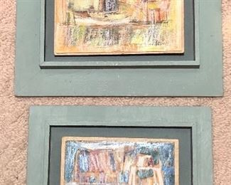 """Two paintings on board, both signed """"Patterson '66"""" in lower right. Could be Ambrose Patterson? Larger image is 7.5"""" x 8.5"""" not including frame."""
