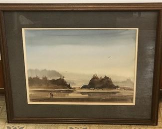 """Watercolor by NW artist John C. Ebner, signed lower right, framed size 17.5"""" x 21.5""""."""