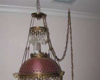 Wonderful, one of a kind crystal and glass hanging lamp.
