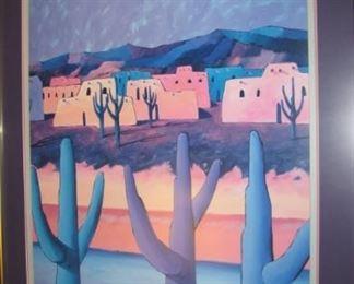 Many pieces of wall art, many southwestern genre.