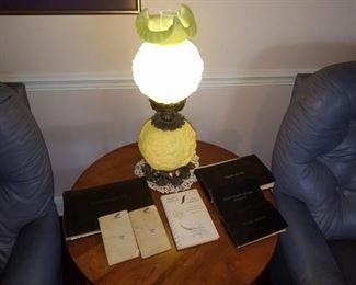 Antique green lamp, pilot logs