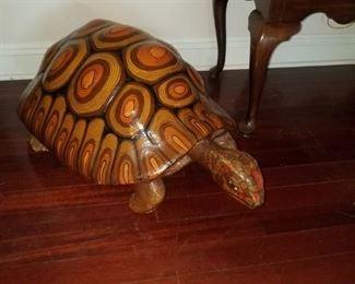 Vintage artist signed paper mache turtle.