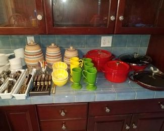 KITCHEN FULL !!  Southwestern ware, two sets of Oneida flatware, cast iron induction ware.