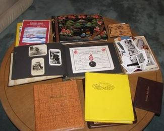 Nice collection of pre 1950's photo albums - military logs, yearbooks and more.