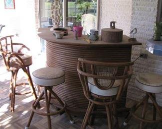 Outdoor bamboo bar set.