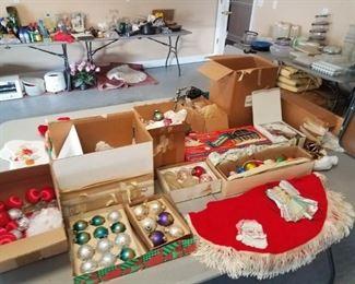Nice selection of vintage Christmas lights, balls, decorations and more.  Great tree skirt!