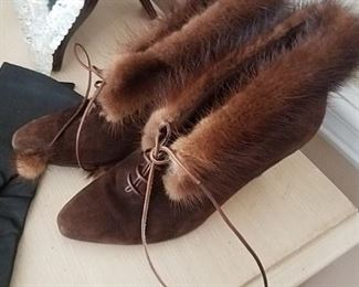 Mink lined, suede boot / shoes - never worn