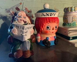 Statues and Andy cookie jar