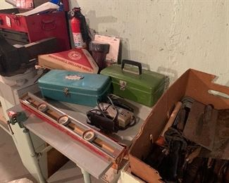 Old tools and tool boxes
