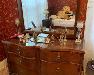 Beautiful Bow Front Dresser with Mirror