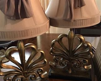 Pair of gilt lamps