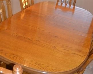 OAK DINING SET WITH 6 CHAIRS, LEAVES, AND PADS