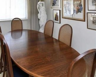 Mid Century Danish Modern Rosewood Dining Table with 8 chairs