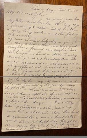 Letter from John Steinbeck's Mom December 8, 1932