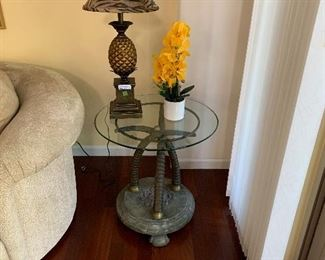 glass top with iron tusk end table