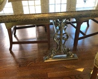 Iron base marbletop table