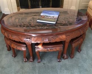 Carved chinese table stools