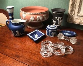 Wedgewood and glass napkin rings