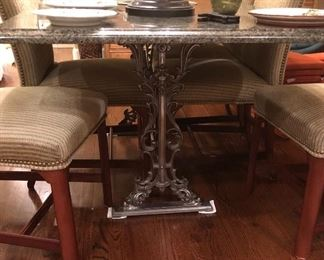 Great polished steel granite topped table