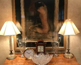 Tiffany clock and antique clock