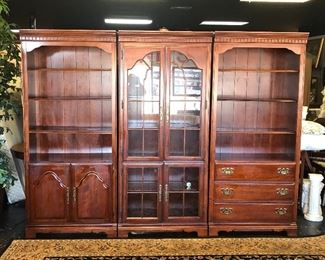 3-Piece Solid Wooden Display Cabinet and Bookcases