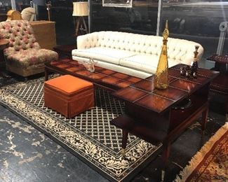 "Gorgeous, c.1950's, MCM, LANE AltaVista mahogany coffee table with brass inlays, tapered legs and brass ""boots,"" with 2 matching end tables and matching 2-tier cocktail table; a MCM curved tufted back beige sofa in mint condition!"