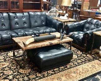 c.1974, BERKLINE, 3-Piece Genuine Leather Tufted Sofa with Club Chair & Rolling Ottoman with wooden accents, in excellent condition! Also a 3-Piece Set of rustic Coffee & End Tables; and Longhorn Steer horns