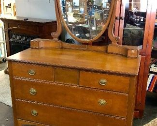 Antique Oak 4-Drawer Dresser with Mirror (we have 2 of these in different sizes)