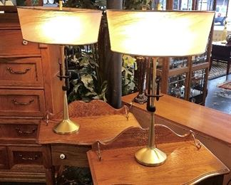 "MCM ""REMBRANDT MASTERPIECE"" Pair of Brass Lamps with Iron Motif AND Original Lamp Shades!!! Both in Excellent Condition!"
