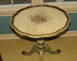 TILT TOP PAINTED TABLE.