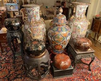 Large Asian Vases, Lacquered Asian boxes, Asian plant stands and stools.