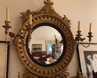 Antique circa 1920's Federal Style Girandole Mirror.