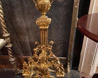 Pair 19th Century renaissance revival andirons. Knight motif.