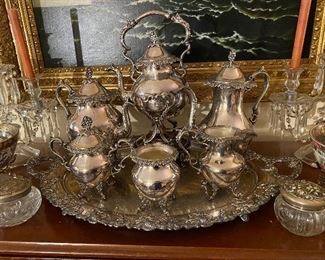Silver plate coffee and tea service.